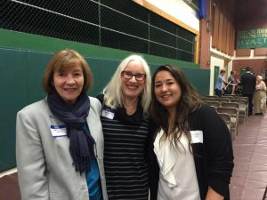 One scholarship winner Alison Tong with our then President-Elect Debbie Nichols and Scholarship Chair Karen Loullis